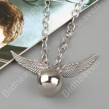 Brand New Harry Potter Quidditch Silver Snitch Wing Metal Necklace Pendant