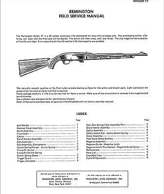 Remington Nylon 77 Gunsmith Manual Field Service Manual EBay