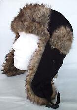 Trapper Hat Mens By JL Accessories Black Canvas Cotton & Brown Faux Fur New