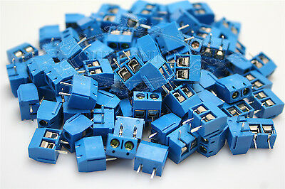 100PCS 2-Pin 5.0mm Plug-in Screw Terminal Block Connector Pitch Panel PCB Mount
