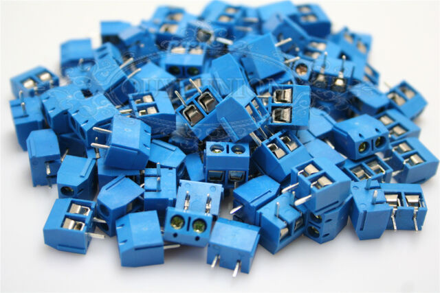 100PC 2 Pin Plug-in Screw Terminal Block Connector 5.0mm Pitch Panel PCB Mount