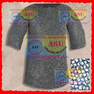 Weihnachtsangebot-Kettenhemd-Ringe-Vernietet-Round-Riveted-Chainmail-Shirt-034-L-034