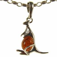 Gift Boxed Baltic Amber Sterling Silver 925 Kangaroo Pendant Jewellery Jewelry