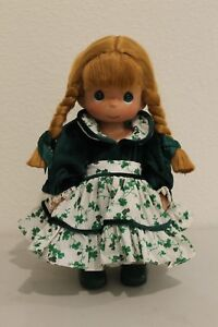 Precious-Moments-Doll-w-Green-Shamrock-Design-Dress-Green-Eyes-Freckles-2000-12-034