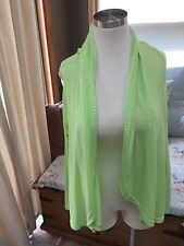 Fresh Produce Lime Green Eyelet Pointelle Open Cardigan Sweater M L Excellent