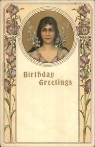 Art-Nouveau-Birthday-Greeting-Beautiful-Woman-w-Flowers-c1905-Postcard