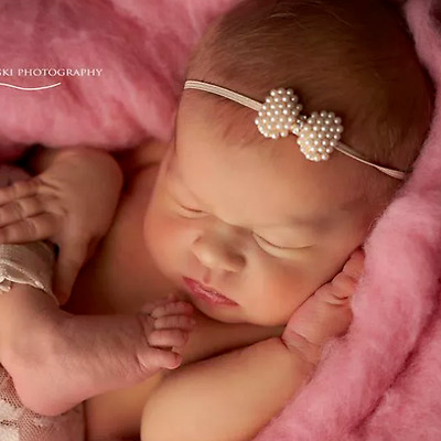 Baby Girl Newborn Headband Hairband Blink Rhinestone Flowers Sparkle Photo Prop
