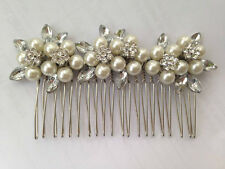 Vintage Silver Pearl & Crystal Stephanotis Flowers Hair Comb Beautiful Quality