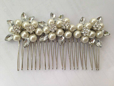 Vintage Silver Pearl & Crystal Stephanosis Flowers Hair Comb Beautiful Quality