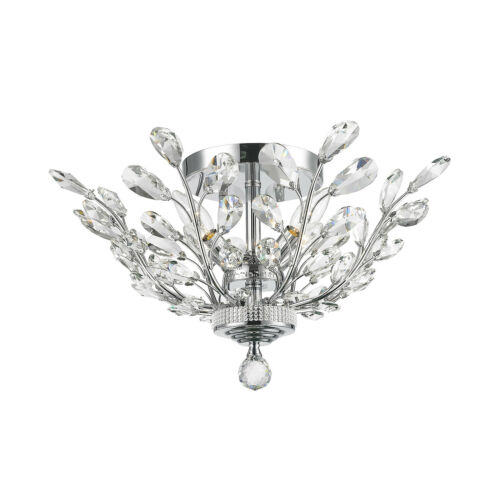 "4 Light Chrome Finish D 20/"" H 11/"" Aspen Crystal Flush Mount Ceiling Light Modern"