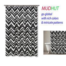 Item 1 MUDHUT Chevron Zig Zag Shower Curtain   Black/White  MUDHUT Chevron  Zig Zag Shower Curtain   Black/White