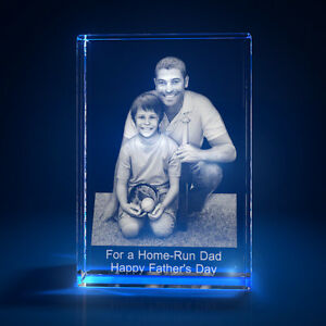 3D Laser Crystal Glass Personalized Etched Engrave Stand Father/'s Day Portrait S