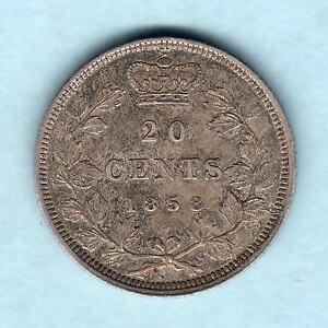 Canada-1858-20-Cents-RARE-This-Grade-aEF-EF
