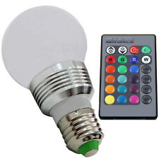 E27 RGB 3W LED 16 Colors Light Lamp Bulb+24key IR Remote Controller