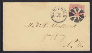 US Sc 65 on NY Circle of Wedges Fancy Cancel Cover to Jaffrey, NH