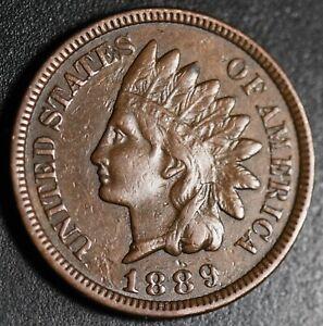 1889-INDIAN-HEAD-CENT-With-LIBERTY-amp-Near-4-DIAMONDS-AU-UNC