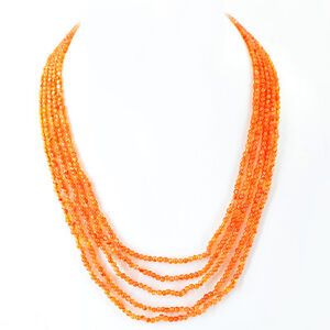 TOP-BEAUTIFUL-160-00-CTS-NATURAL-5-LINE-RICH-ORANGE-CARNELIAN-BEADS-NECKLACE