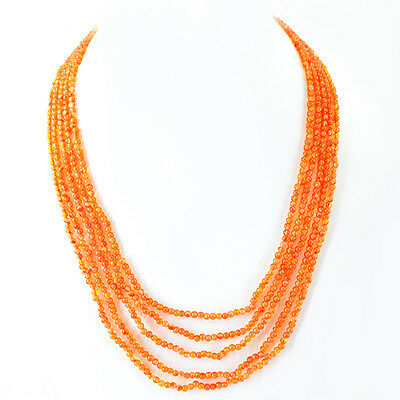 GENUINE 259.00 CTS NATURAL 5 STRAND RICH ORANGE CARNELIAN FACETED BEADS NECKLACE