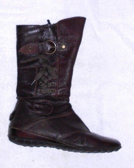 GEOX bottes plates zippées  cuir brown P 39 TBE