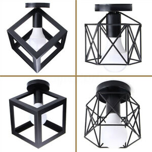 Vintage-Retro-Cage-Plafonnier-Lustre-Lampe-Suspendu-Luminaire-Lumiere-Eclairage