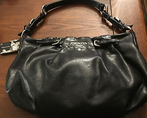 Image Is Loading Authentic Prada Leather Shoulder Hobo Bag Black Br3795