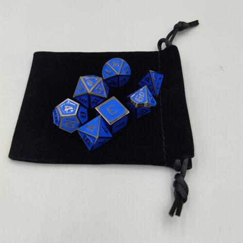 7Pcs//Set Embossed Heavy Metal Polyhedral Dice For DND RPG MTG Game Bag