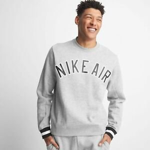 Nike-Air-Fleece-Logo-Top-Mens-Pullover-Grey-Multi-Size-Casual-Sportswear-Sweater