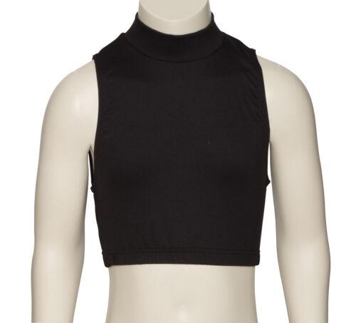 Black Soft Matt Lycra Tactel High Neck Dance Fitness Gym Crop Top KCTT-7 By KATZ