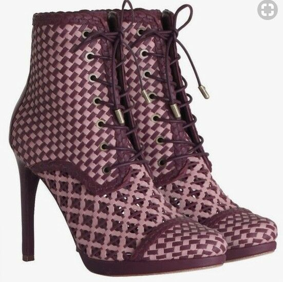Zimmermann Weave Ankle Boots | Burghandy | Lace Up, High Heels |  1,100 RRP