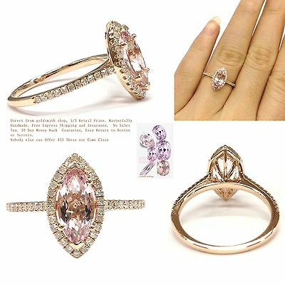 5x10mm Marquise Cut Pink Morganite Pave Diamonds Engagement Ring 14K Rose Gold