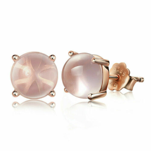 Rose Gold Plated Round Shape Rose Quartz Stud Earrings Womens Jewelry Wedding