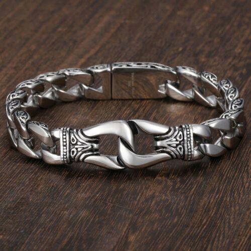 Men/'s Biker Chain Silver Tone Curb Cuban Link 316 L Bracelet en Acier Inoxydable 10 mm