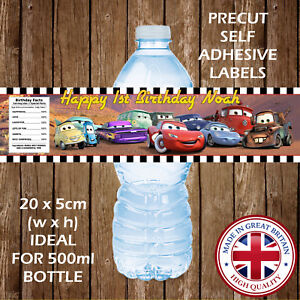 Image Is Loading PERSONALISED DISNEY CARS WATER BOTTLE LABELS BIRTHDAY PARTY