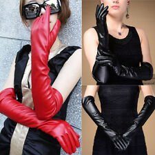 Women Warmer/Opera/Evening/Party Long faux Leather Over Elbow  Wrist Gloves UK
