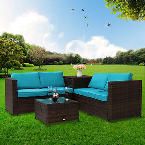 Image Is Loading 4 Pc Rattan Outdoor Indoor Patio Garden Pe