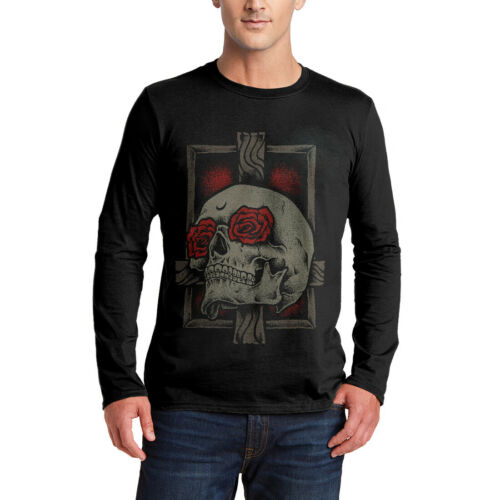 Skull Cross T-Shirt Horror Rose Flower Gothic Dark Grim Reaper Skeleton P239