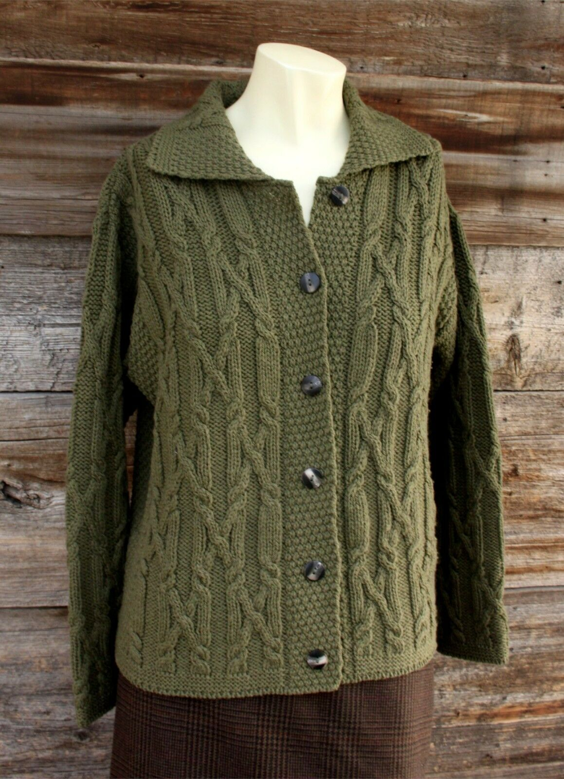 Inis Crafts Dark Green Green Green Cable Knit Merino Wool Cardigan Sweater Size Medium 9614bd