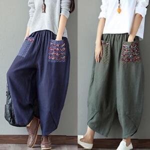 Casual-Women-Loose-Baggy-Wide-Leg-Pants-Cotton-Linen-Loose-Harem-HOT-Sale-Pocket
