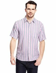EX-M-amp-S-Marks-And-Spencer-Modal-Rich-Soft-Touch-Fine-Striped-Shirt