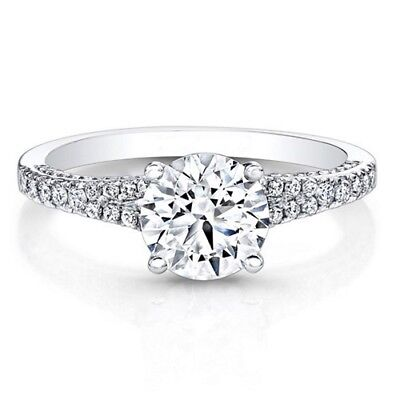 Jewelry & Watches 0.86 Ct Round Cut Diamond Engagement White Gold Finish Women's Ring Size N M J O Comfortable Feel Fine Rings