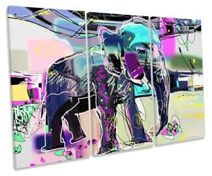 Details About Abstract Elephant Framed Treble Canvas Print Wall Art