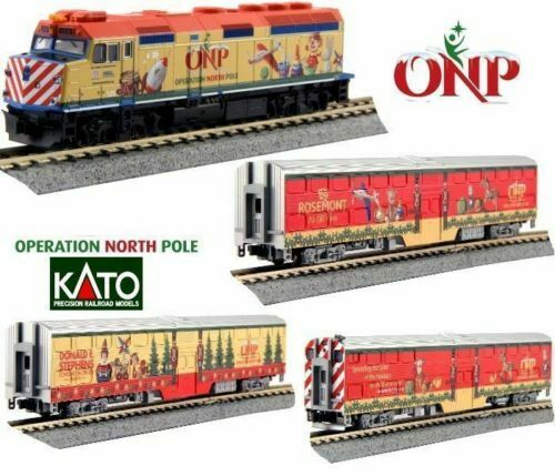 New Kato N Scale 106-2015 Operation North Pole F40PH Loco & 3 Commuter Car Set