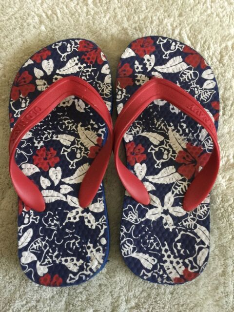 a528f60e7 Old Navy Boys Red White Blue Hibiscus Flowers Flip Flops Sandals Toddler  10-11