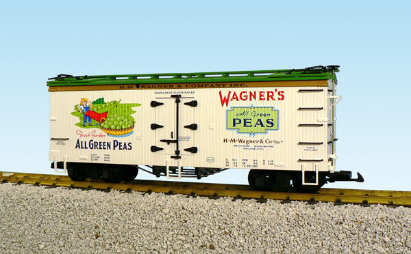 USA Trains G Scale Reefer R16334 WAGNERS PEAS REEFER WHITE GREE