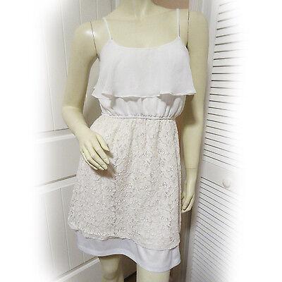 Deb White Sleeveless Spaghetti Strap Ivory Overlay Lace Dress Womens Casual Wear Ebay