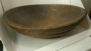 """Antique Signed Dough Bowl Large Vintage Wooden Farmhouse Primitive 16.5"""" Oval"""