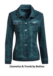 Trendige Jeansjacke von MOCCA by Jutta Leibfried Smaragdgrün mit Nieten NEU