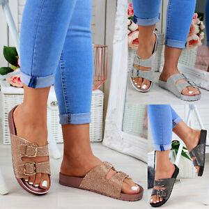 abb86d14705 Details about Ladies Womans Buckle Slip On Mule Summer Sliders Flatform Sandals  Shoes Size 3-8