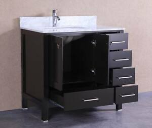 36 inch belvedere freestanding espresso bathroom vanity w marble top ebay. Black Bedroom Furniture Sets. Home Design Ideas