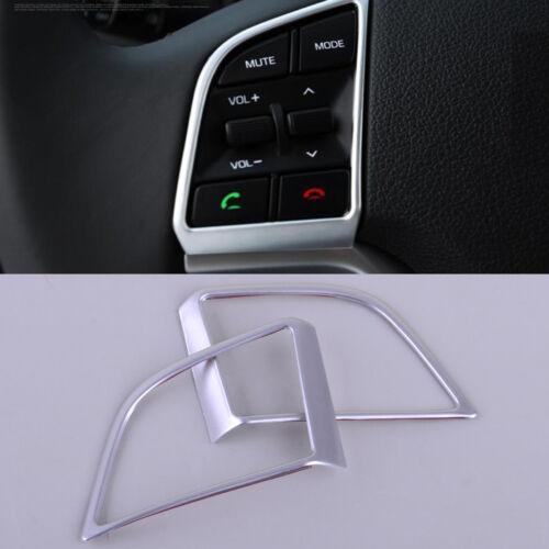 2pcs Chrome Steering Wheel Panel Cover Insert Trim for Hyundai Tucson 2015-2017